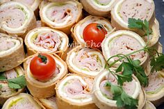 Deli Wraps (Party Finger Foods) with various meats, cheeses and veggies. They were so delicious! These were served at my daughter's tea party. They were a hit for the adults AND children! | Parties with Charm