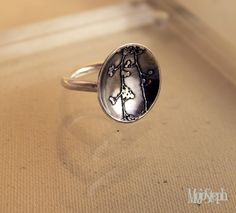 Handmade Etched Silver Berry Dome Ring   £40.00