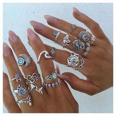 P A R A D I S E C O L L E C T I O N ✨ online now >> bohomoon.com Nail Jewelry, Cute Jewelry, Silver Jewelry, Jewelry Accessories, Gold Jewellery, Jewelry Rings, Silver Rings, Bohemian Rings, Bohemian Jewelry