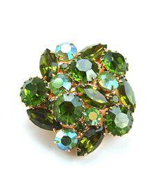 Vintage Spring Green Rhinestone Brooch Peridot Leaf by kiamichi7, $32.00