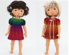 "An easy knitting pattern that will help you to make a sweet little dress for 11 inch doll (28cm) YOSD BJD art dolls Patti and Tella by MeadowDolls (My Meadow). Doll measurements:  Doll height - 11"" (28cm)  Chest - 5.1"" (13cm)  Waist - 5.1"" (13cm)  Hips - 7"" (17.5cm)   With a thicker yarn and longer skirt this dress will fit Little Darling dolls by Dianna Effner. You might want to give it a try!  This is a simple little dress with puff raglan sleeves and an A-line skirt which is worked in…"