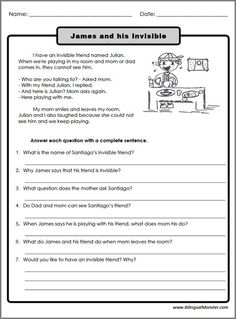 Reading Comprehension Worksheets For 3rd Graders #1 | English 3 ...