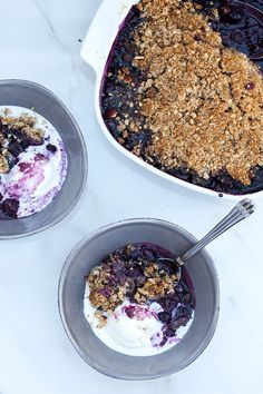 Maple Blueberry Crisp with Cinnamon-Almond Topping