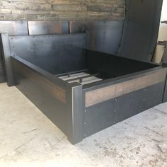 Newest addition to the store, the Dillon Bed! Ask about custom sizes today! Cama Industrial, Industrial Furniture, Vintage Industrial, Bedroom Sets, Bedroom Decor, Steel Bed, Welding Ideas, Welding Art, Wood Surface