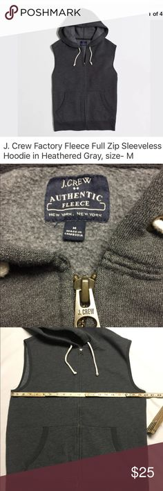 """J. CREW Factory Fleece full zip sleeveless hoodie J. CREW Factory Fleece full zip sleeveless hoodie in Heathered Gray.  Excellent preowned condition- No holes, rips snags or damaged zipper. No funky smell or stains- Laundered, clean and ready to ship.   Size on tag- M  Measures approximately: 20"""" from armpit to armpit  Product Details from J. Crew: Cotton/poly. Kangaroo pocket. Rib trim at pocket and hem. Machine wash. J. Crew Sweaters Zip Up"""