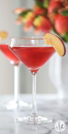Peach Cosmopolitan recipe - cosmo recipe - Valentine's Day martini cocktail