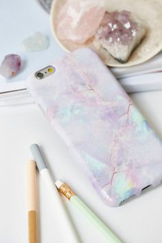 Pastel Galaxy Marble iPhone Case by Velvet Caviar