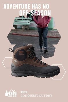 You don't have to battle blizzards in these boots, but it's good to know you can. In fact, the men's Sorel Conquest Mid OutDry Boots are designed to dominate cold, snowy conditions in temperatures down to -40°F. Their waterproof leather uppers shrug off snow, mud and rain. Available only at REI.