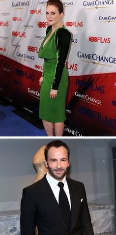 Julianne Moore in her beautiful recycled vintage dress and the designer Tom Ford!
