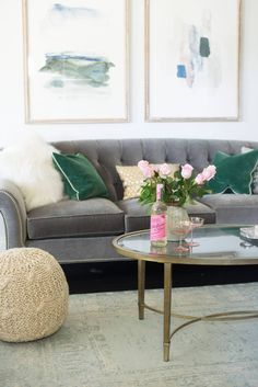 tips for styling a living room with a gray couch and brass coffee table @worldmarket #homedecor #design
