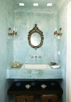 bathroom sink, lotus, blue wash