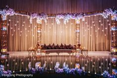 Indian wedding reception stage decor in Nashville, TN Indian Wedding by FengLong Photography Reception Stage Decor, Wedding Reception Backdrop, Wedding Stage Decorations, Wedding Table, Rustic Wedding, Trendy Wedding, Wedding Ideas, Reception Ideas, Wedding Church