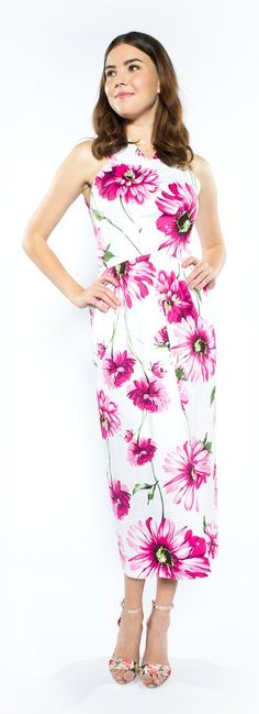 A woven unlined dress with a fitted shallow v-neck top with cut-in shoulders and a lightly gathered midi skirt with a vent with an invisible zipper. 97% Cotton 3% Spandex Dry-clean or handwash cold water, iron medium heat when needed.