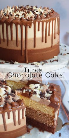 Triple Chocolate Cake with Dark, Milk and White Layers and a Chocolate Drip! Backen Triple Chocolate Cake with Dark, Milk and White Layers and a Chocolate Drip! Easy Vanilla Cake Recipe, Chocolate Cake Recipe Easy, Chocolate Cookie Recipes, Homemade Chocolate, Cake Chocolate, Chocolate Buttercream, Buttercream Frosting, Chocolate Espresso, Espresso Cake