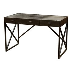 """Iron Desk With 3 Drawers   Iron  50"""" W x 25"""" D x 31"""" H  Finish/Color(s): Antique Black"""