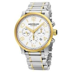 0917a839b0085 Mont Blanc Men s 107320  Timewalker  Silver Dial Stainless Steel 18k Gold  Chronograph Swiss Automatic