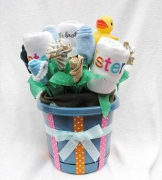 Little Brother & Big Sister New Sibling Gift Bouquet, Baby Apparel Gift Basket, Childrens Clothing Baby Blossom Gift for Big and Little Kids