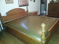 bethanns_garage king size solid oak waterbed waveless