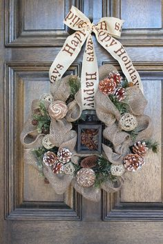 Burlap winter wreath. $45.00, via Etsy.