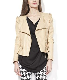 Look what I found on #zulily! Nude Faux Leather Spring Jacket #zulilyfinds