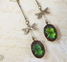 Dragonfly Earrings Dangles Green Blue by dfoxjewelrydesigns