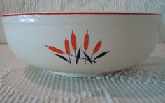 Sears Roebuck and Co. and Camwood Cattail Vintage Serving Bowl made by Universal Pottery $20.00