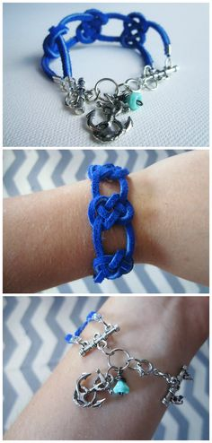Feel The Tide Bracelet - cobalt blue suede josephine knots with an anchor charm and a mint czech glass bead nautical bracelet. $14.50, via Etsy.