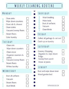 home repairs,home maintenance,home remodeling,home renovation Household Cleaning Schedule, Weekly Cleaning Checklist, Speed Cleaning, House Cleaning Tips, Spring Cleaning, Cleaning Hacks, Cleaning Routines, Cleaning Schedules, Household Chores Chart