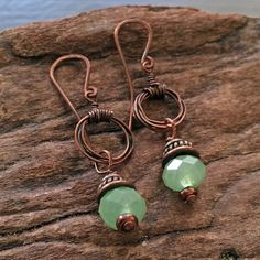 Copper Wire and Green Crystal Earrings