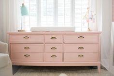 Bright White & Pastel Baby Girl Nursery Reveal Blush Pink dresser light pink and gold dresser baby girl room light mint lamp jute rug
