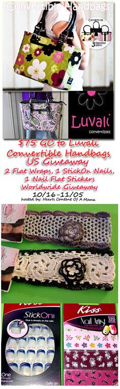 $75 GC To Luvali Convertible Handbags (US) And 4 Fun Prizes (Worldwide) Giveaway