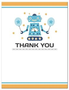 Baby Shower or Birthday Party Thank You Cards Set of 24 Robots