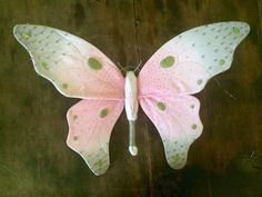 Pink, Grey, and Green Butterfly Soft Sculpture, Fiber Art, Textile Art
