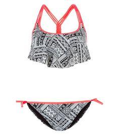 Teens Black Abstract Print Flounce Bikini Set | New Look