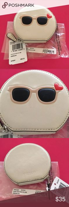 """NWT Coach Sunglasses Round Coin Case NWT - Model# F87220 - Retails for $85 Coach Sunglasses Round Coin Case 4"""" L x 3 3/4"""" H Price is Firm - No Box Coach Accessories"""