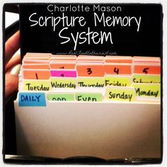 Charlotte Mason Scripture Memory System - an easy way to memorize Bible verses as a family! This is the system we use, and it is wonderful and easy. We use it for other memorization, too, not just Bible verses. Bible Verse Memorization, Scripture Study, Bible Verses, Scriptures, Daily Scripture, Bible Art, Bible Quotes, Bible Activities, Memory Verse