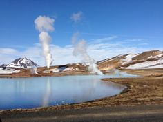 """Steam and """"hot Water"""" at Myvatn close to the Jardbodin Nature Bath (kind of Blue Lagoon in the North of Iceland)."""