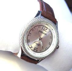 Women's Watch Japanese Quartz Silvertone dial / Brown strap 35MM #Strada #Fashion