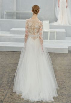 Long-sleeve lace gown from the Monique Lhuillier spring 2015 bridal collection.