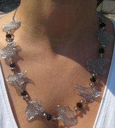Necklace in Italian metal mesh ribbon in silver color by lARTela, $35.00