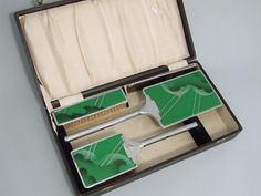 English Boxed Dressing Table Set. Chromed Metal with Enamelling in Green and Black.