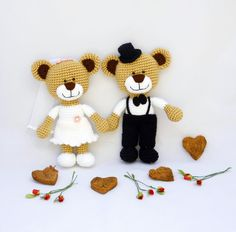 horgolt esküvői maci pár / crochet wedding teddy bear couple
