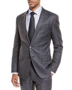 N54WP Giorgio Armani Windowpane Wool Two-Piece Suit