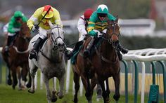 Neptune Collonges neck and neck with Sunnyhill Boy,to the line in the 2012 Grand National.