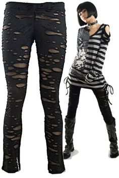 Ripped Off Shot Leggings by Punk Rave The Gothic Shop - www.the-gothic-shop.co.uk