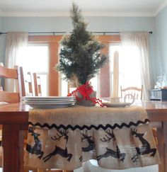 Items similar to OFF - Burlap Table Runner - Dashing Through the Snow, 14 x 92 inches, best used for 7 ft. table on Etsy Dashing Through The Snow, Winter Table, Burlap Table Runners, Valance Curtains, Holiday, Christmas, Diy Crafts, Handmade Gifts, Etsy