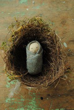 Tiny baby cloth doll by Willowynn
