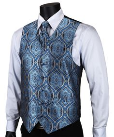 VE16 Navy Blue Paisley Top Design Wedding Men 100% Silk Waistcoat Vest Pocket Square Cufflinks Cravat Set for Suit Tuxedo