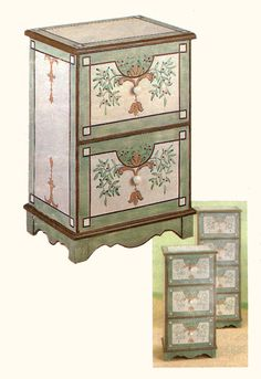 Hand-Painted File Cabinets - can put feet/trim on the bottom and a natural wood surface on top...