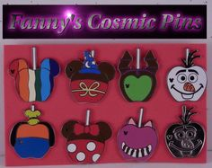 """Disney 2015 WDW Complete Hidden Mickey """"Candy Apples"""" 8 Piece Trading Pin Set"""